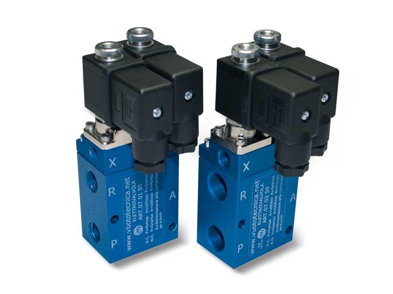 Électrovannes de vide à 3 voies, servopilotées, avec 2 bobines électriques