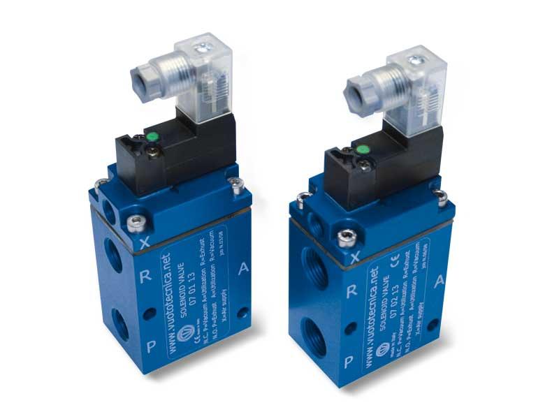 Electrovannes pour vide à 3 voies, à commande directe, avec bobine électrique à basse absorption