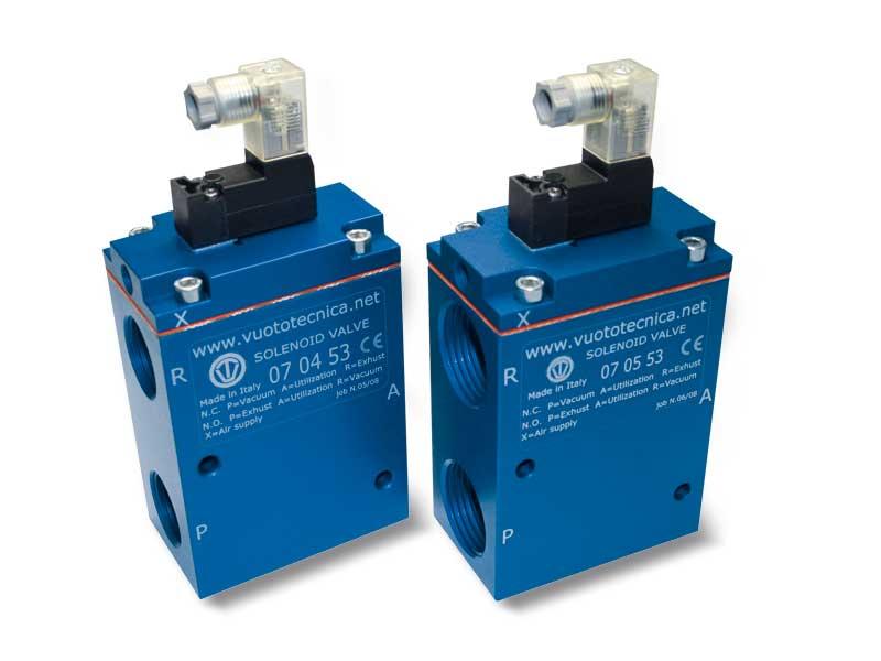Electrovannes pour vide à 3 voies, servopilotées, avec électropilote à impulsions bistables et avec bobine électrique à basse absorption