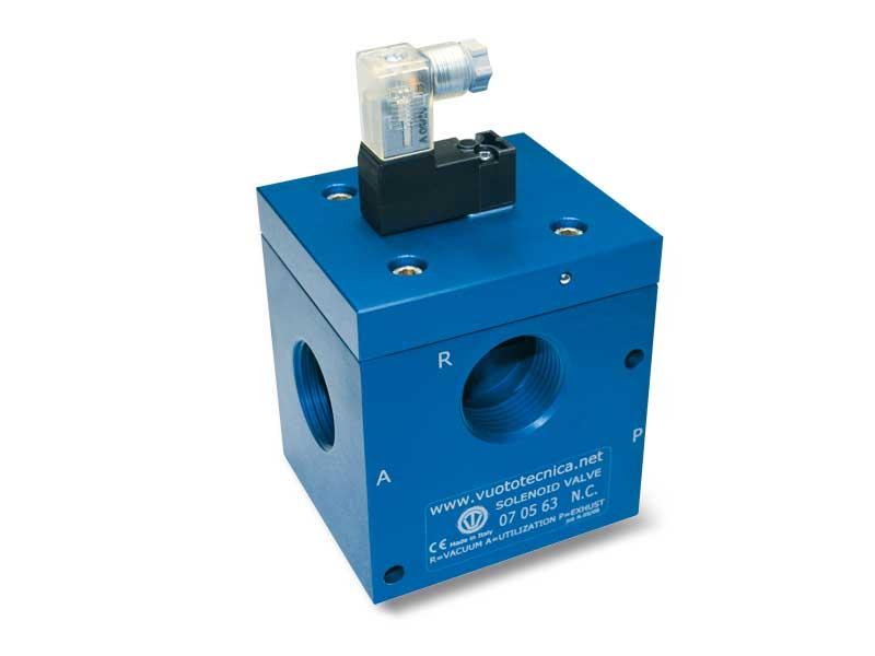 Electrovannes pour le vide à 3 voies, à commande directe, avec électropilote à impulsions bistables et avec bobine électrique à basse absorption