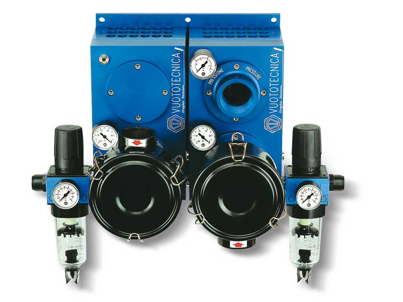 Pompes pneumatiques aspirantes et soufflantes associées PA 250 ÷ 300 avec PS 250 ÷ 300