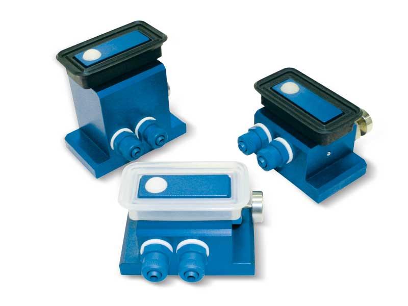 Ventouses rectangulaires avec obturateur à sphère, support autobloquant et bouton de déverrouillage